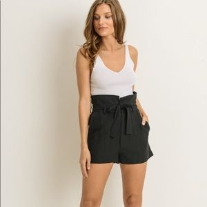 High waisted Black shorts With Cute Tie